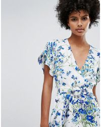 Warehouse - Blue Full Bloom Wrap Dress - Lyst