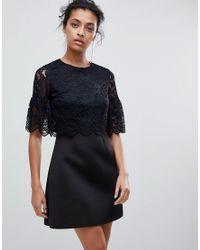 ASOS - Black Lace Crop Top Scallop Mini Dress - Lyst