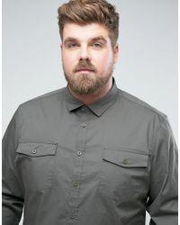 ASOS | Green Plus Slim Fit Two Pocket Shirt In Khaki for Men | Lyst