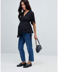 ASOS - Black Asos Design Maternity Wrap Top With Kimono Sleeve - Lyst