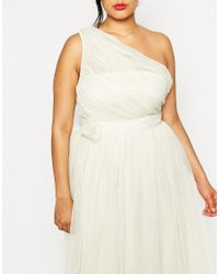 ASOS - Natural Curve Wedding Mesh Midi Dress With One Shoulder & Corsage - Lyst