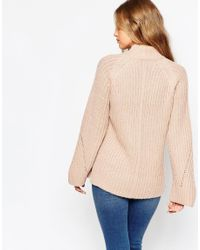 ASOS | Natural Chunky Jumper With High Neck And Moving Rib | Lyst