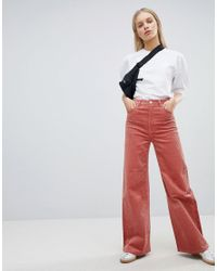 fda0a6d5d963 Weekday Cord Wide Leg Pants in Pink - Lyst