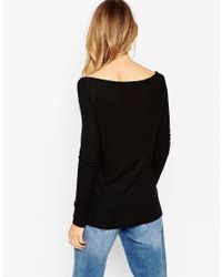 ASOS - Black Top With Off Shoulder Detail In Slouchy Rib - Lyst