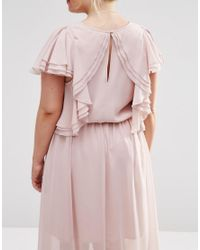 ASOS - Pink Ruffle Sleeve Maxi Dress - Lyst