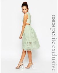 ASOS - Green Petite Prom Dress With Floral Embroidery And Cutout Detail - Lyst