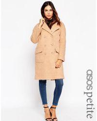 ASOS | Natural Petite Cocoon Coat | Lyst