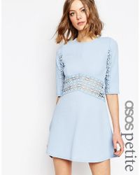 ASOS | Blue Skater Dress With Lace Insert | Lyst