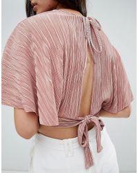 Love - Pink Pleated Kimono Top - Lyst