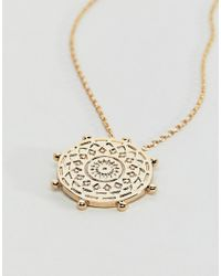 Orelia - Metallic Gold Plated Bead Coin Necklace - Lyst