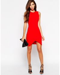 ASOS - Red Asymmetric Sleeveless Body-conscious Dress - Lyst