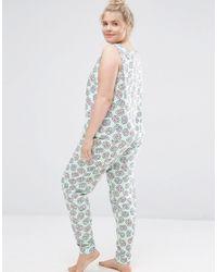 ASOS - Blue Pretzel Print Vest & Legging Pyjama Set - Print - Lyst