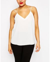 ASOS - Black Plunge Neck Strappy Cami - Lyst