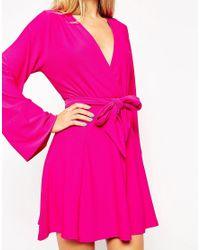 ASOS - Black Kimono Wrap Dress With Tie Waist - Lyst