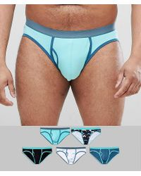 ASOS Blue Plus Briefs In Dolphin Print 5 Pack Multipack Saving for men