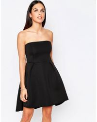 Oh My Love Black Structured Strapless Dip Hem Dress