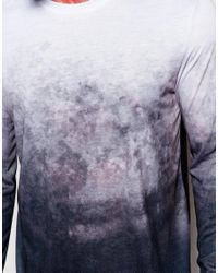 ASOS - Black Skater Long Sleeve T-shirt With Dip Dye Effect for Men - Lyst