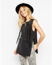 ASOS | Black Festival Tunic Top In Acid Wash With Studs And Fringing | Lyst