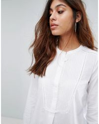 Mango - White Pleated Bib Shirt - Lyst