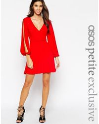 ASOS - Red Sexy 70's Wrap Dress With Split Sleeve - Lyst