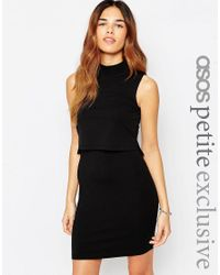 ASOS | Black Petite Sleeveless Crop Top Bodycon Dress With Turtle Neck | Lyst
