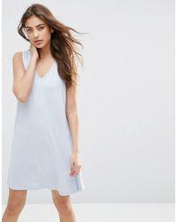ASOS | Blue Sleeveless V Neck Swing Dress | Lyst
