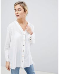 ASOS White Longline Long Sleeve Shirt With Horn Button Detail