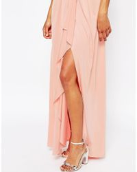ASOS - Pink Wedding One Shoulder Sexy Slinky Maxi Dress - Lyst