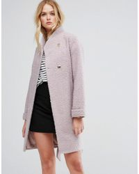 ASOS DESIGN - Pink Asos Textured Throw On Coat - Lyst