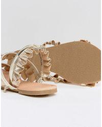 ASOS - Metallic Fair Play Ruffle Flat Sandals - Lyst