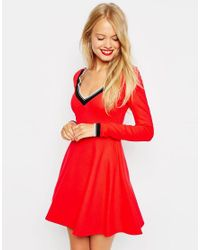 ASOS | Red V Neck Ponti Skater Dress With Trim Detail | Lyst