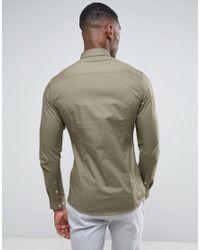 ASOS Green Tall Skinny Shirt In Light Khaki for men