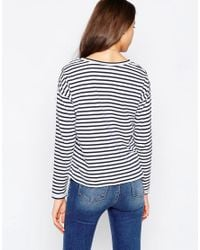 ASOS | Blue Tall Long Sleeve Stripe Top | Lyst