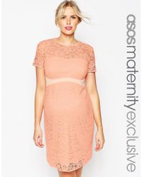 ASOS | Orange Maternity Lace Bodycon Dress With Contrast Waistband | Lyst