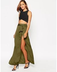 ASOS | Natural Maxi Skirt With Thigh Split And Obi Tie Belt | Lyst