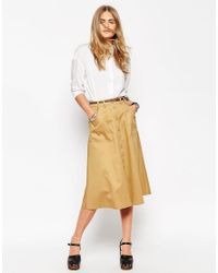 ASOS   Natural Midi Skirt With Button Through In Cotton Twill   Lyst