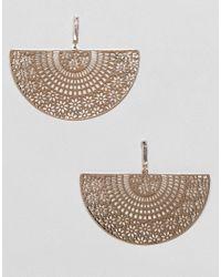 ASOS - Metallic Earrings With Filigree Half Disc In Gold - Lyst