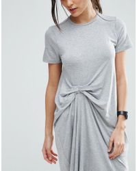 ASOS - Gray T-shirt Dress With Gathered Front - Lyst
