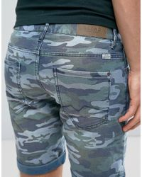 Blend - Blue Camo Denim Short for Men - Lyst