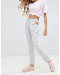 ASOS - Gray Cut Out Side Joggers - Lyst