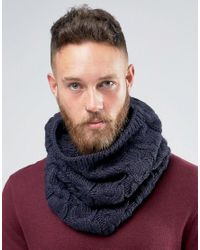 French Connection   Blue Cable Infinity Scarf for Men   Lyst