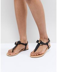 38d5dbac99e Lyst - Oasis Bow Toe Post Sandals in Black