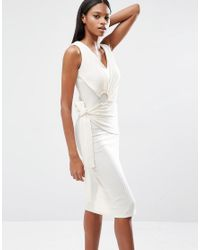 Lavish Alice | White Rib Knit Tie Wrap Front Open Ring Detail Midi Dress | Lyst