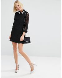 ASOS - Natural Lace Shift Dress With Embellished Collar - Lyst