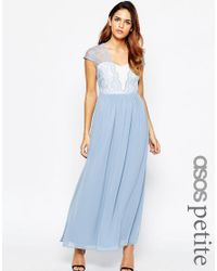 ASOS | Scalloped Lace Maxi Dress - Blue | Lyst