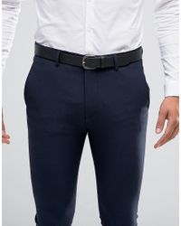 ASOS Black Smart Leather Belt With Horseshoe Buckle for men