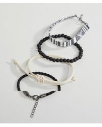 ASOS - Black Design Bracelet Pack In Monochrome With Beads for Men - Lyst