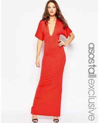 ASOS | Red Tall Kimono Plunge Maxi Dress With Open Back | Lyst