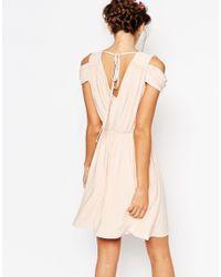 ASOS - Green Wedding Drape Cold Shoulder Mini Dress - Lyst