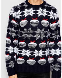 Another Influence - Black Christmas Pudding Jumper - Navy for Men - Lyst